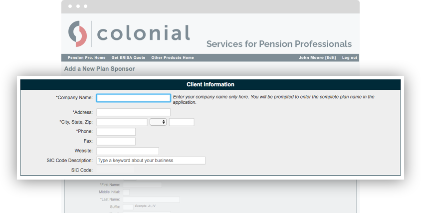 demonstrating the client information form