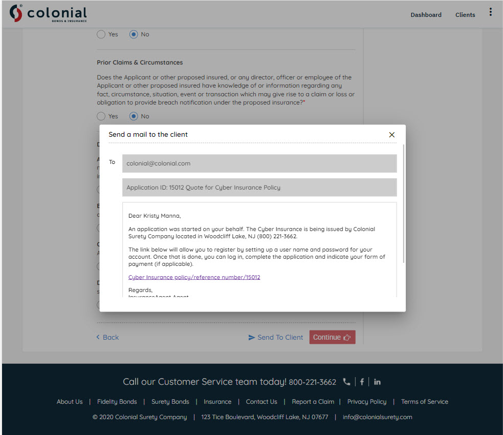 Simply click send to client on any page of the application